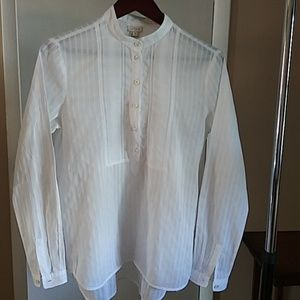J. Crew women's long sleeve hi/low white blouse S